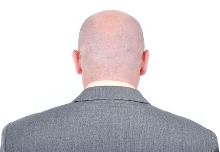 Young bald businessman from his back