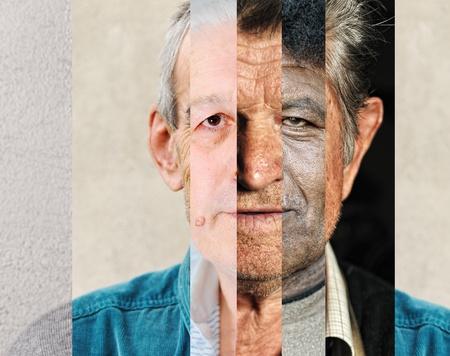 Photo pour Human male face made of several different people, artistic concept vertical collage - image libre de droit