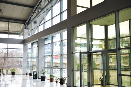 Glass building inside