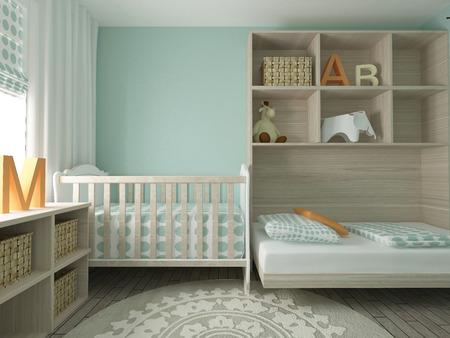 Photo pour Baby room interior, 3d render - image libre de droit