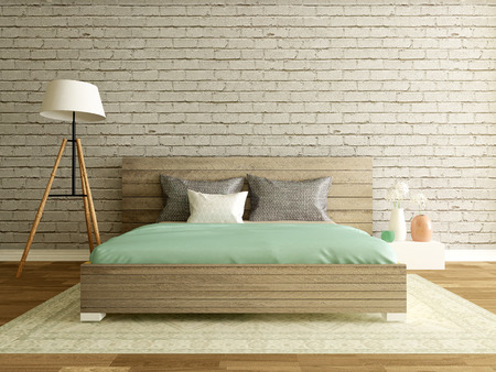 Photo for modern bedroom interior with brick wall - Royalty Free Image