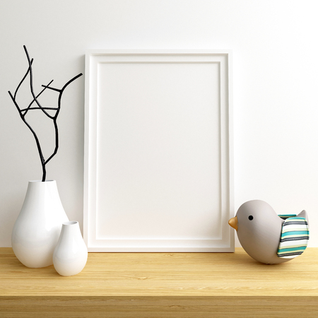 Photo pour Mock Up Poster Frame in Children Room, Nursery Interior, 3d Render - image libre de droit