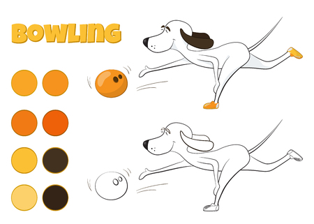 Funny cartoon dog playing bowling. Kind of sport. Fun for all ages.  illustration