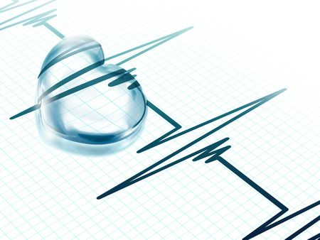 transparent blue heart on an electrocardiogram graph