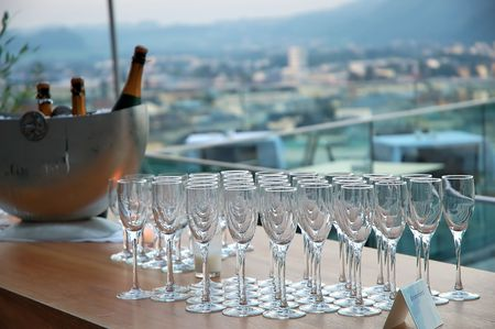 Champagne glasses ready for party