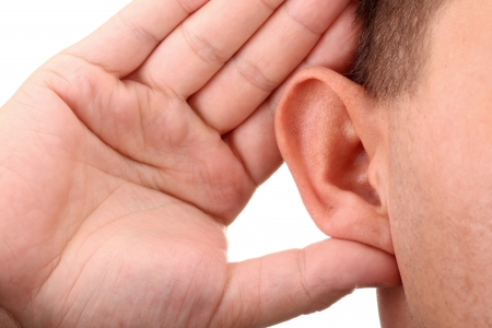Foto für What? Closeup for hand on ear - Lizenzfreies Bild