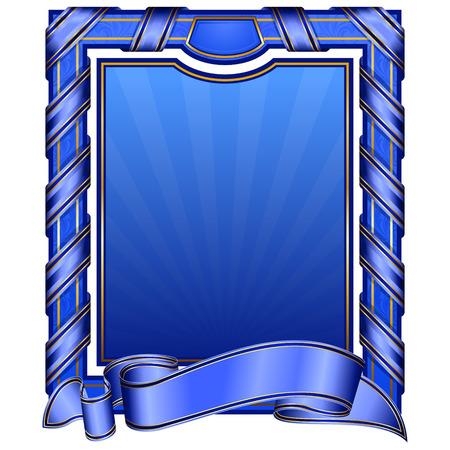 Illustration for blue vintage rectangle frame with ribbon  - Royalty Free Image