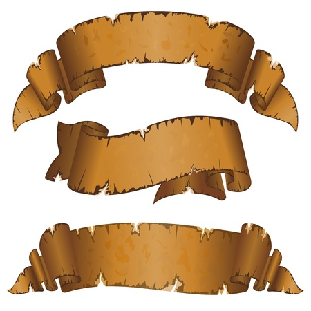 Illustration pour Collection different dirty old ribbon with ragged edge  - image libre de droit