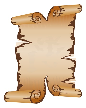 Illustration for Old dirty manuscript with scroll ragged edges - Royalty Free Image