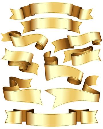 Illustration pour Gold ribbon collection. Ten ribbon on white background. - image libre de droit