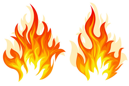 Illustration for Set of two different flame on white background - Royalty Free Image