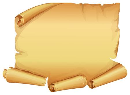 Illustration pour Big golden scroll of parchment on white background - image libre de droit