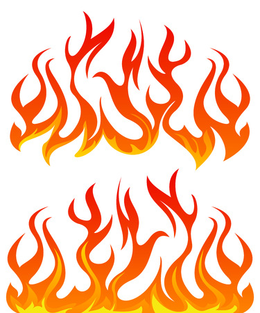 Illustration for Fire flames vector set on white background - Royalty Free Image
