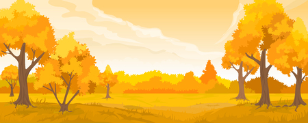 Illustration for Cartoon illustration of the autumn rural landscape - Royalty Free Image