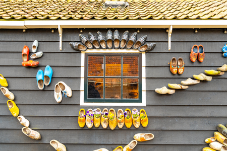 Close view on the old traditional wooden shoes