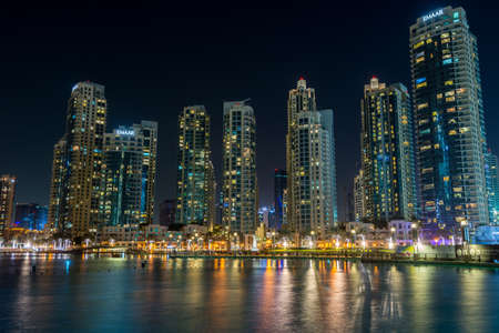 Photo pour Night view of the skylines near the Burj Khalifa Tower, the tallest building in the world. - image libre de droit