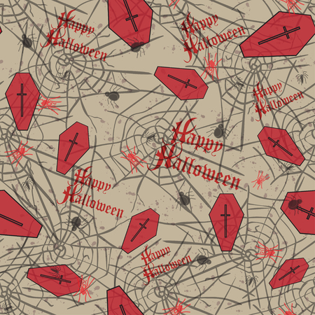 Vintage seamless pattern for Halloween party. Vector illustration.