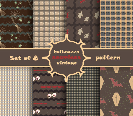 Set vintage seamless pattern for Halloween party. Vector illustration.