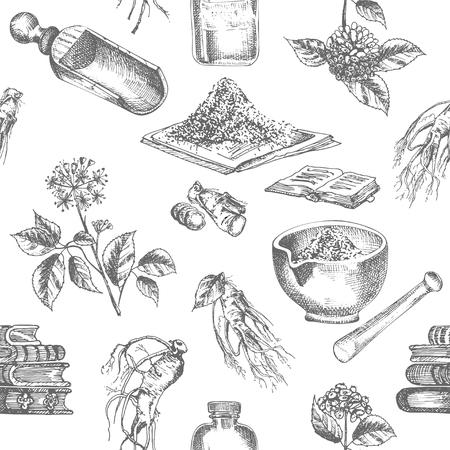 Ilustración de Seamless pattern realistic botanical ink sketch of ginseng root, flowers, berries, bottle, mortar and pestle isolated on white background, Medicine plant. Vintage rustic vector illustration. - Imagen libre de derechos
