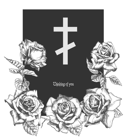 Illustration pour Funeral ornament concept with hand drawn roses and cross in black color isolated on white Vintage engraved style Modern template background design for invitation, card, obituary. Vector illustration - image libre de droit