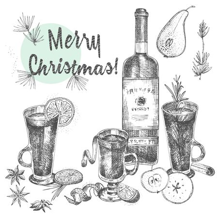 Illustration pour Set of hand drawn Christmas winter spices pattern, glasses of traditionally hot winter drinks and wine bottle . Good idea for templates menu, recipes, greeting cards. Vector illustration - image libre de droit