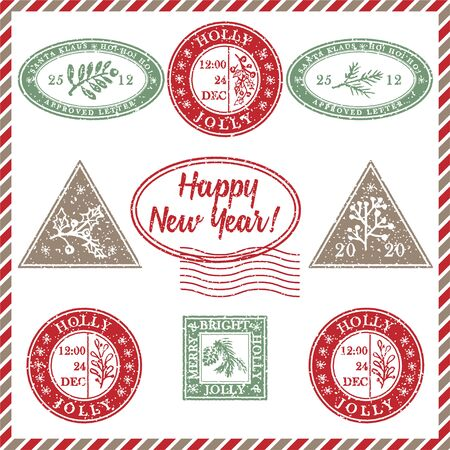 Illustration pour Set of vintage textured grunge christmas stamp rubber with holiday symbols and lettering Happy new Year in xmas colors. For greeting card, invitations, web banner, sale flyers. Vector illustration - image libre de droit