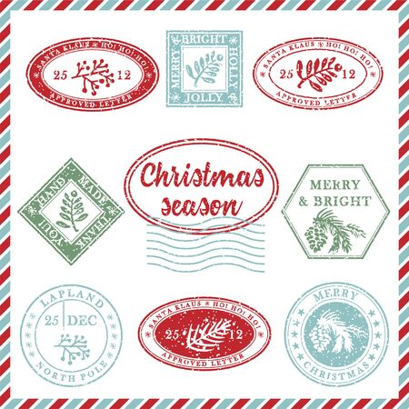 Illustration pour Set of vintage textured grunge christmas stamp rubber with holiday symbols and lettering in xmas colors. For greeting card, invitations, web banner, sale flyers. Vector illustration - image libre de droit