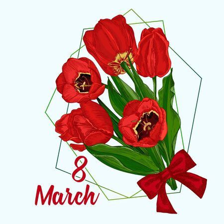Illustration pour Greeting card with Spring flower bouquet of tulips in red and green colors on white background Engraving drawing style Realistic botanical nature sketch pattern. Women, mother days design, 8 march - image libre de droit