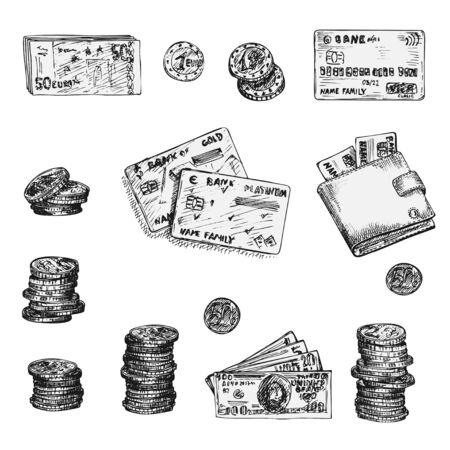 Illustration for Set of ink sketch finance icons money, coins, wallet, credit cards, scissors isolated on white background, Financial markets design concept Vintage engraving style vector - Royalty Free Image