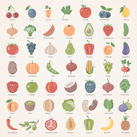 Foto per Flat Icons - Fruit and Vegetables - Immagine Royalty Free