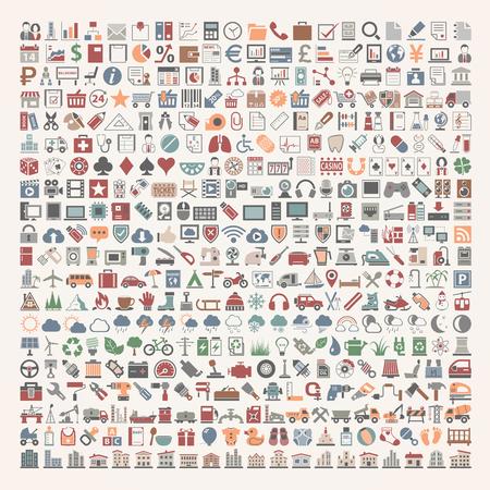 Illustration for 400 Flat Icons - Royalty Free Image