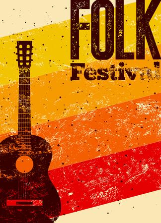 Folk festival poster. Retro typographical grunge vector illustration.