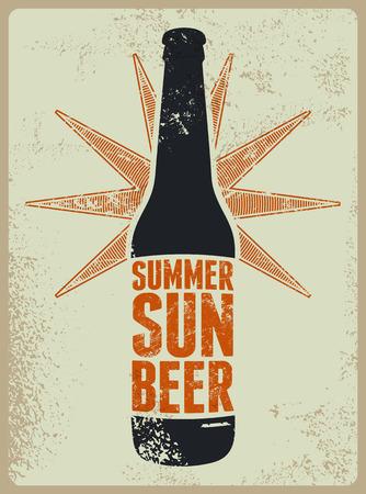 Illustration pour Summer, Sun, Beer. Typographic retro grunge beer poster. Vector illustration. - image libre de droit