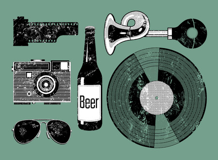 Grunge Camera Vector : Background with retro camera. vector illustration. photo camera with
