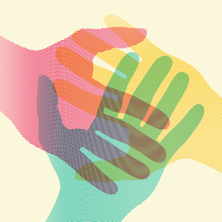 Illustration for Overlapping colorful hands concept poster. Vector illustration. - Royalty Free Image