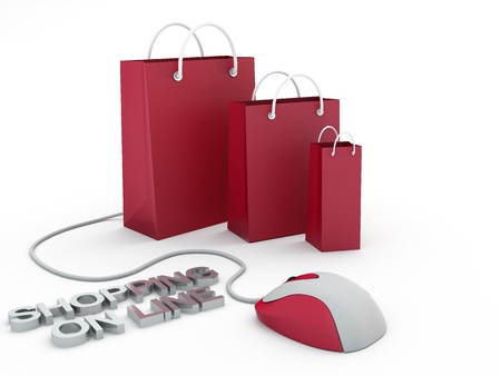 Isolated shopping bags and computer mouse, e-commerce conceptの写真素材