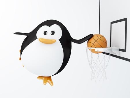 Fat basket player penguin - 3D render