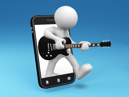 The guitarist comes out from smartphone - 3D render