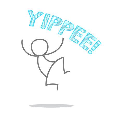 Ilustración de A man jumping and shouting YIPPEE. - Imagen libre de derechos