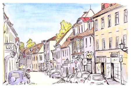 Foto de Hand painted sketch of Tallinn city street, Estonia Europe - Imagen libre de derechos