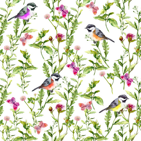 Meadow with butterflies, birds and herbs. Seamless watercolor floral pattern.