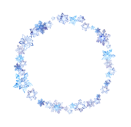 Winter wreath with snow flakes. Watercolor circle frame for fashion design