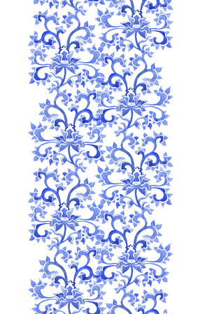 Floral chinese ornamental repeating pattern. Watercolor oriental ornament