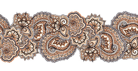 Marker painted abstract ethnic ornament. Repeating decorative abstract pattern in brown - blue colors.