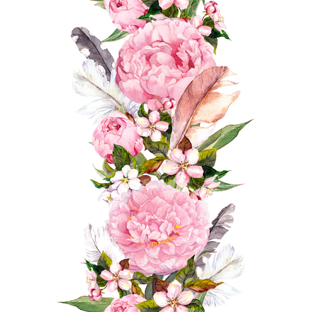 Photo for Floral border with pink peony flowers, cherry blossom and bird feathers. Vintage seamless stripe in boho style. Watercolor - Royalty Free Image