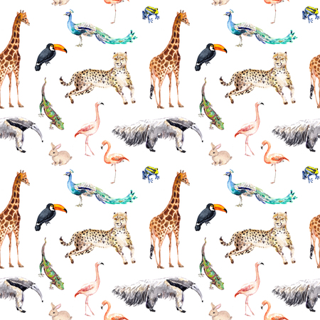 Photo for Wild animals and birds - zoo, wildlife - giraffe, cheetah, toucan, flamingo, other. Seamless pattern. Watercolor - Royalty Free Image
