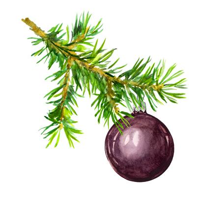 Photo pour Pine branch with black Christmas bauble ball. Watercolor - image libre de droit
