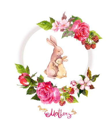 Foto de Floral wreath with roses, pink flowers, berries. Watercolor circle frame. Greeting card - Imagen libre de derechos