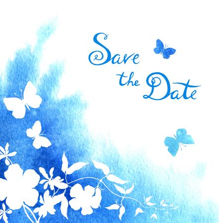 Foto de Watercolor blot and flow. Vintage wedding card with butterflies, save the date lettering. - Imagen libre de derechos