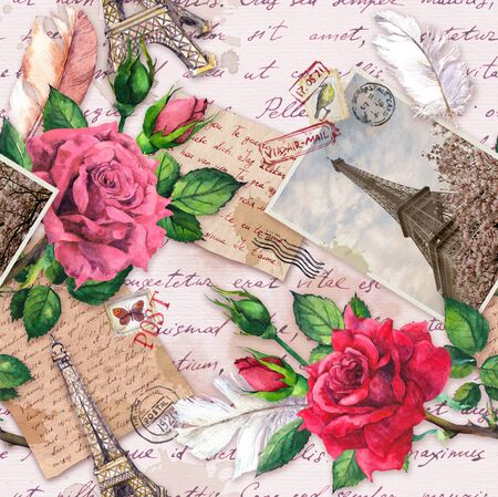 Foto de Hand written letters, vintage photo of Eiffel Tower, rose flowers, postal stamps and feathers. Seamless pattern about France and Paris - Imagen libre de derechos